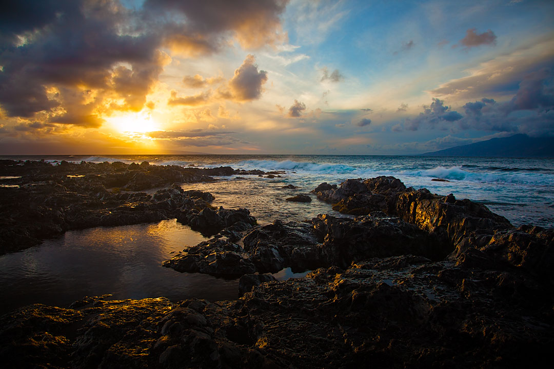 Sunset over Napili Rocks